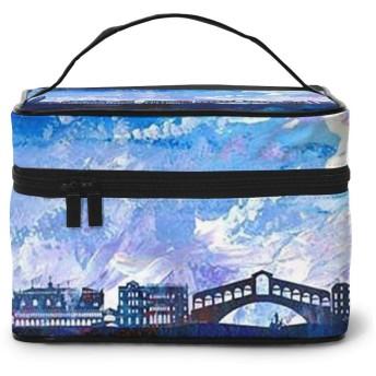 メイクポーチ 化粧ポーチ コスメバッグ バニティケース トラベルポーチ 街景色 油絵 雑貨 小物入れ 出張用 超軽量 機能的 大容量 収納ボックス