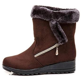 [ヤク] 大きいサイズ 26.5 26.0 ムートンブーツ スノーブーツ ショートブーツ レディース 内ボア ブラウン 防滑 撥水 防寒 25.0cm 雪 靴 滑らない ウィンターブーツ スノーブーツ 雪靴 ファスナー スエード調ブーツ 冬 アウトドア 保暖