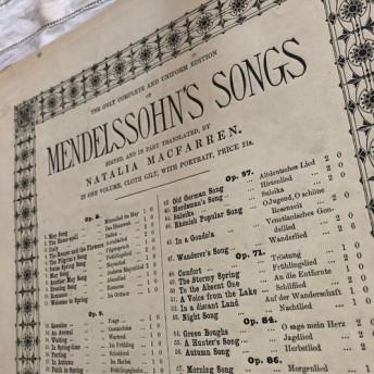 英国で出会った♪ アンティークの楽譜 4枚綴り 8p 「MENDELSSONHO'S SONGS」ロンドンの出版社