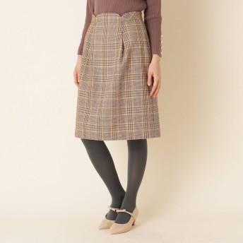 クチュール ブローチ Couture brooch 【WEB限定サイズ(LL)あり/手洗い可】ウエストタックチェックスカート (キャメル)