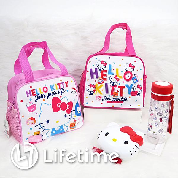 ﹝Kitty45週年雙側網方型便當袋﹞正版手提餐袋 野餐袋 水壺袋 凱蒂貓〖LifeTime一生流行館〗