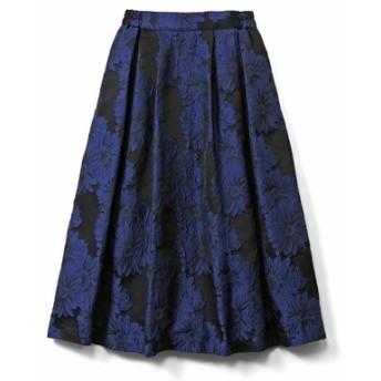 あったかインナーパンツ付き 華やぎジャカードスカート〈ブルー〉 IEDIT[イディット] フェリシモ FELISSIMO【送料無料】