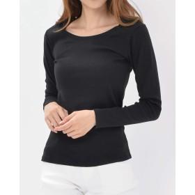 [ラルー] 長袖Tシャツ 大きいサイズ レディース 無地 インナー LL ブラック