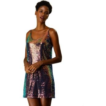 Allegra K ミニドレス ワンピース スパンコール パーティー クラブウェア ダンス 衣装 レディース 明るい青 XL