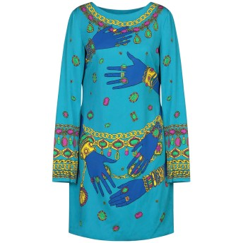 《セール開催中》MOSCHINO レディース ミニワンピース&ドレス アジュールブルー 44 レーヨン 99% / 指定外繊維 1%