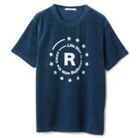 【メンズビギ:トップス】インディゴパイル ラバープリントTシャツ