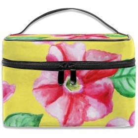 花柄 ピンク 黄色背景 化粧ポーチ 化粧品バッグ 化粧品収納バッグ 収納バッグ 防水ウォッシュバッグ ポータブル 持ち運び便利 大容量 軽量 ユニセックス 旅行する