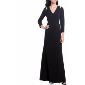 カルバンクライン レディース ワンピース トップス V-Neck Cutout Scuba Crepe Gown Black