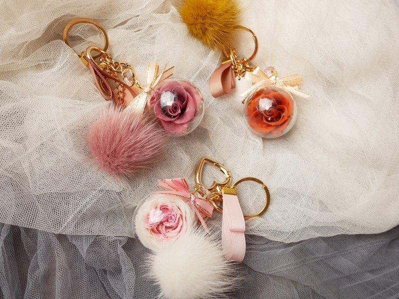 【進口水貂毛球永生花鑰匙圈】不凋玫瑰、交換禮物、聖誕禮物