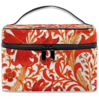 赤い花柄 化粧ポーチ 化粧品バッグ 化粧品収納バッグ 収納バッグ 防水ウォッシュバッグ ポータブル 持ち運び便利 大容量 軽量 ユニセックス 旅行する