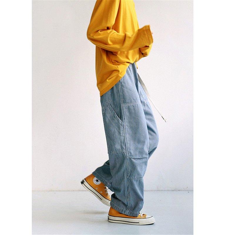 藍色條紋 復古工裝中性款寬鬆牛仔褲 直筒鬆緊腰帶落地寬褲長褲