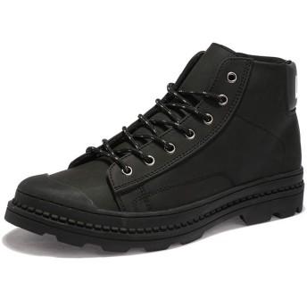 [GoldFlame-JP] ショートブーツ メンズ 革靴 ハイカットシューズ ワークブーツ カジュアル ハイカット レースアップ つま先保護 厚底 滑り止め 作業用 短靴 男性用 超楽 スニーカー 短靴 ワークブーツ ブラック