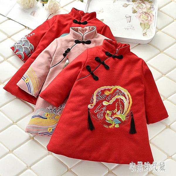 秋冬新款寶寶唐裝冬季兒童棉衣女童拜年服新年過年喜慶中國風禮服