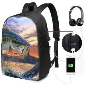 バス釣り バッグ 17インチ USB充電ポート付き バックパック 調節可能なショルダーストラップ アウトドアリュック 登山リュック 季節新品 多機能 通学 通勤 出張 旅行用 大容量 黒 メンズ レディース通用