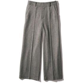【股下丈59cm】 微起毛素材 ワイド クロップドパンツモノトーンヘリンボーン70