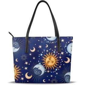 バッグ トートバッグ 太陽と月 手提げバッグ ショルダーバッグ PUレザー ハンドバッグ レディース 大容量 防水 A4対応 軽量 ビジネス 通勤 通学 誕生日プレゼント