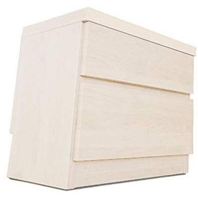 頑丈薄型チェスト/収納棚〔2段 幅45cm ホワイト木目調〕 奥行30cm 日本製 『ウスピッタ』〔完成品〕
