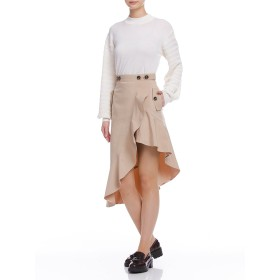 【65%OFF】Falbala midi skirt ラッフル アシンメトリースカート ベージュ s