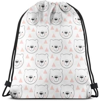 ホッキョクグマとピンクの三角形_8484 3Dプリント巾着バックパックリュックサックショルダーバッグ大人のためのジムバッグ16.9x 14