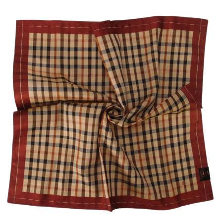 DAKS- 經典正格紋帕巾/領巾(酒紅邊)