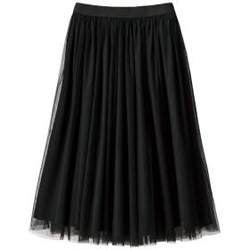 49%OFF【レディース】 チュールスカート - セシール ■カラー:ブラック ■サイズ:LL,S,M