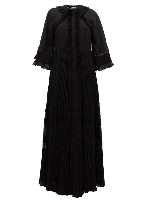 Self-portrait - Ruffle-trimmed Chiffon Maxi Dress - Womens - Black