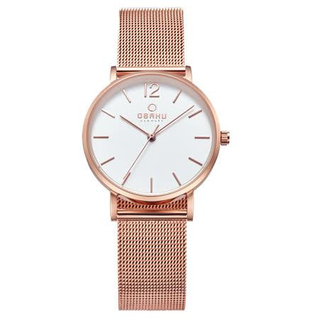 OBAKU 摩登驚豔鋼質女性腕錶-玫瑰金-V197LXVWMV