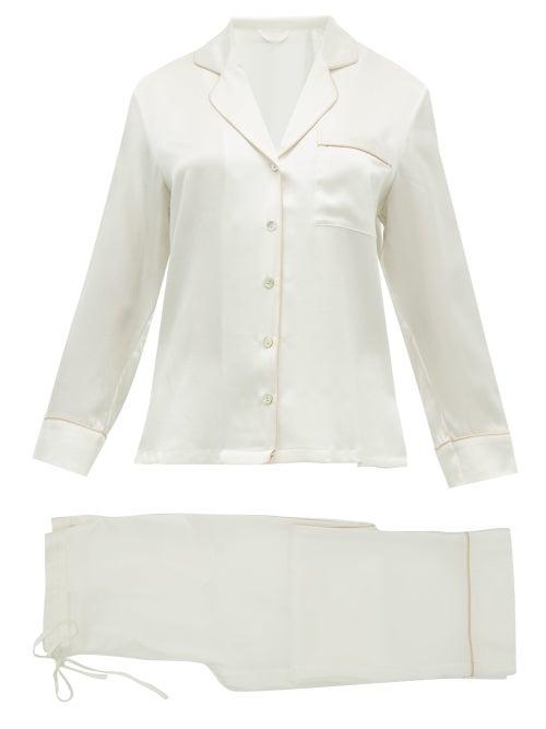 Fleur Of England - Piped-edge Silk-satin Pyjamas - Womens - White