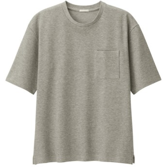 (GU)ポンチクルーネックT(5分袖) GRAY L