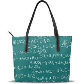 バッグ トートバッグ 数学柄 理科柄 物理柄 手提げバッグ ショルダーバッグ PUレザー ハンドバッグ レディース 大容量 防水 A4対応 軽量 ビジネス 通勤 通学 誕生日プレゼント