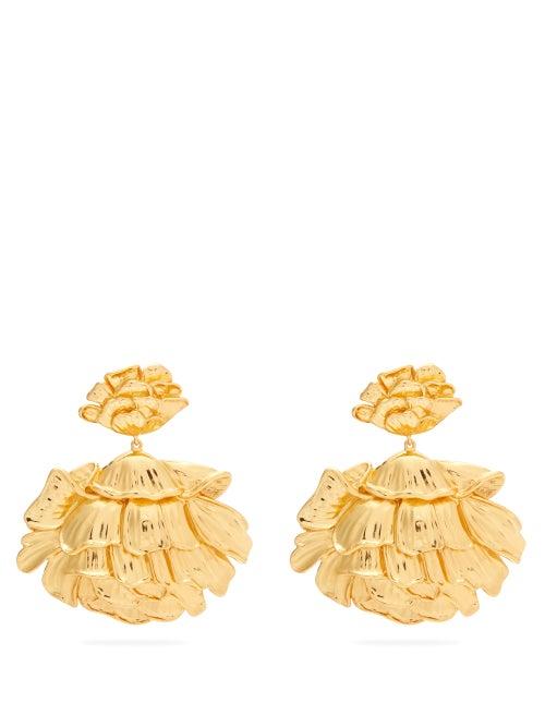 Aurélie Bidermann - Flower 18kt Gold-plated Clip Earrings - Womens - Gold