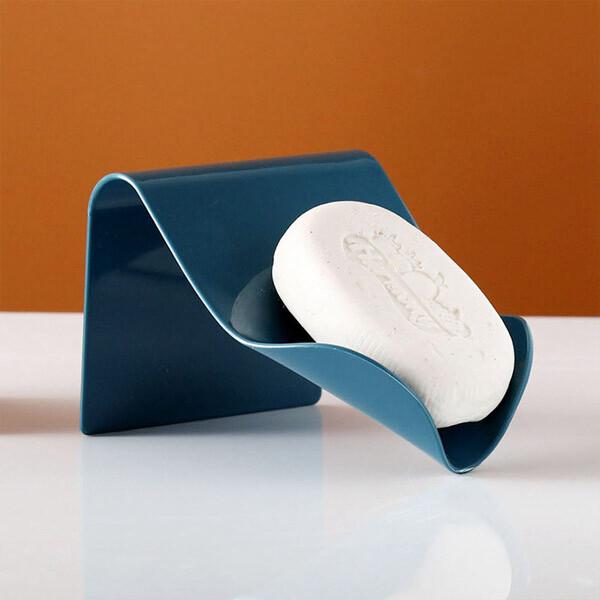 居家寶盒1入斜口瀝水肥皂收納架 強力無痕貼 香皂架 免打孔肥皂架 浴室廚房盤皂托 無痕貼