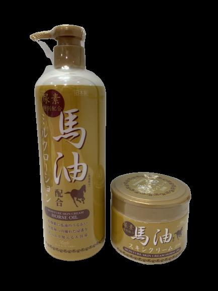 日本 Loshi 金裝馬油乳液 485ml / 金裝保濕潤膚霜 220g 尿素特別配合