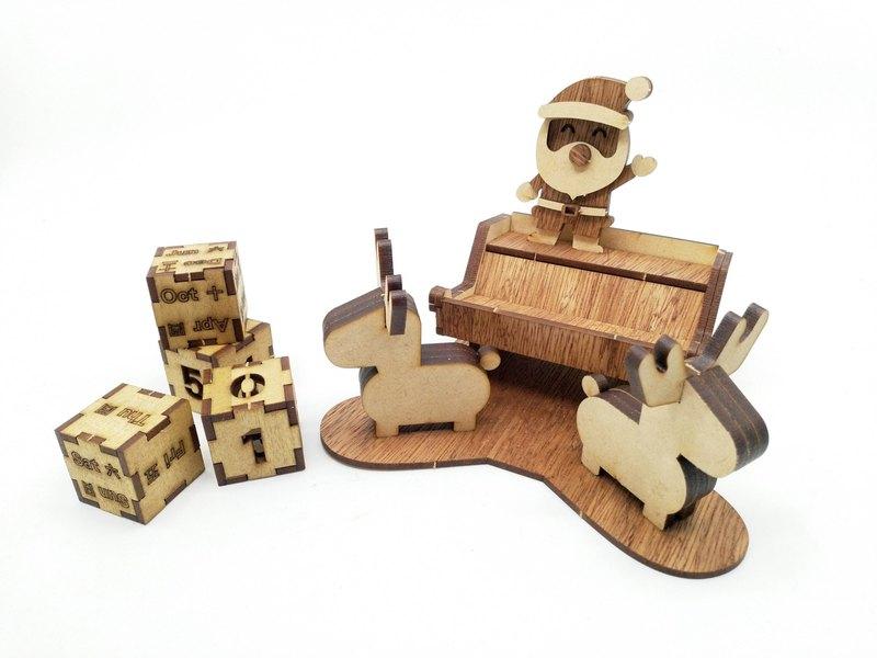 文具卡片(聖誕日曆) DIY 原木貼皮拼板 居家生活
