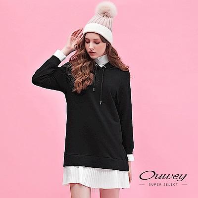 OUWEY歐薇 造型壓摺配色兩穿式長版連帽洋裝(黑)