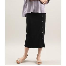 【ViS:スカート】釦デザインテレコスカート