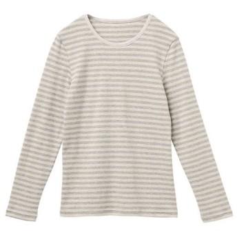 20%OFF【レディース】 裏起毛クルーネックTシャツ ■カラー:ボーダーC(オートミール系) ■サイズ:S,M,L,LL,3L