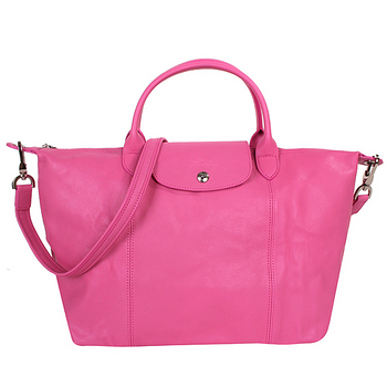 LONGCHAMP-小羊皮短把摺疊包/粉紅色(附背帶)M