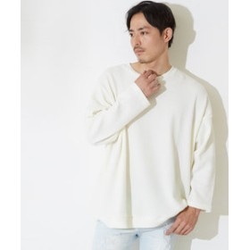 【improves:トップス】ワッフルビッグシルエット長袖クルーネックTシャツ