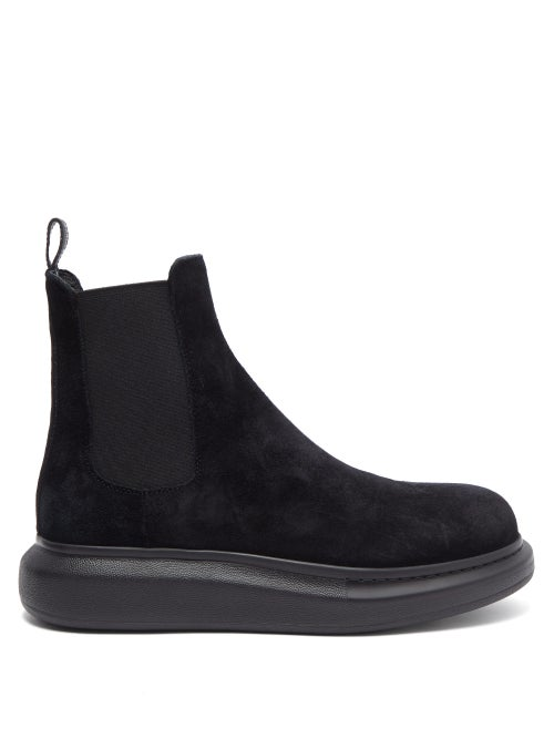 Alexander Mcqueen - Hybrid Exaggerated-sole Suede Chelsea Boots - Mens - Black