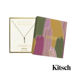 美國 KITSCH Bar Tag Engravable Necklace 簡約風長條拋光14K鍍金墜飾項鍊