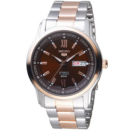 SEIKO 精工 5號21石盾牌羅馬機械腕錶 7S26-04T0KS SNKP18J1
