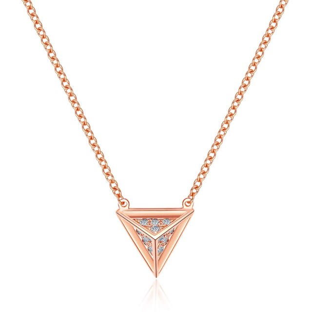 三角錐 立体 ペンダント ネックレス レディース Ribivaul シルバー925 銀製 K18ピンクゴールドメッキ CZダイヤモンド シンプル プレゼント ギフトボックス付き