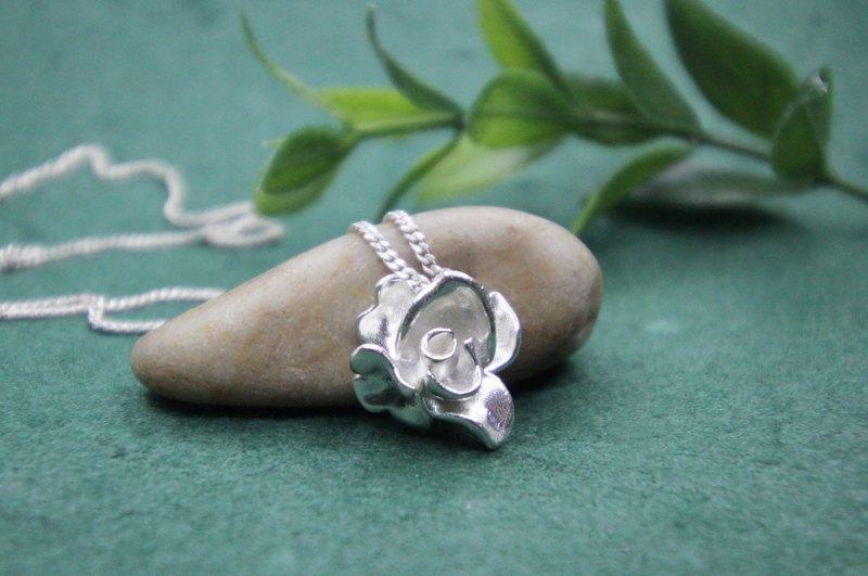 玫瑰花頸鍊,純銀花頸鍊