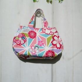 ふんわり丸い和柄の花柄バッグ