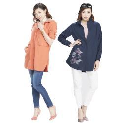 蘭陵風衣式長版顯瘦休閒外套2入組G09-05