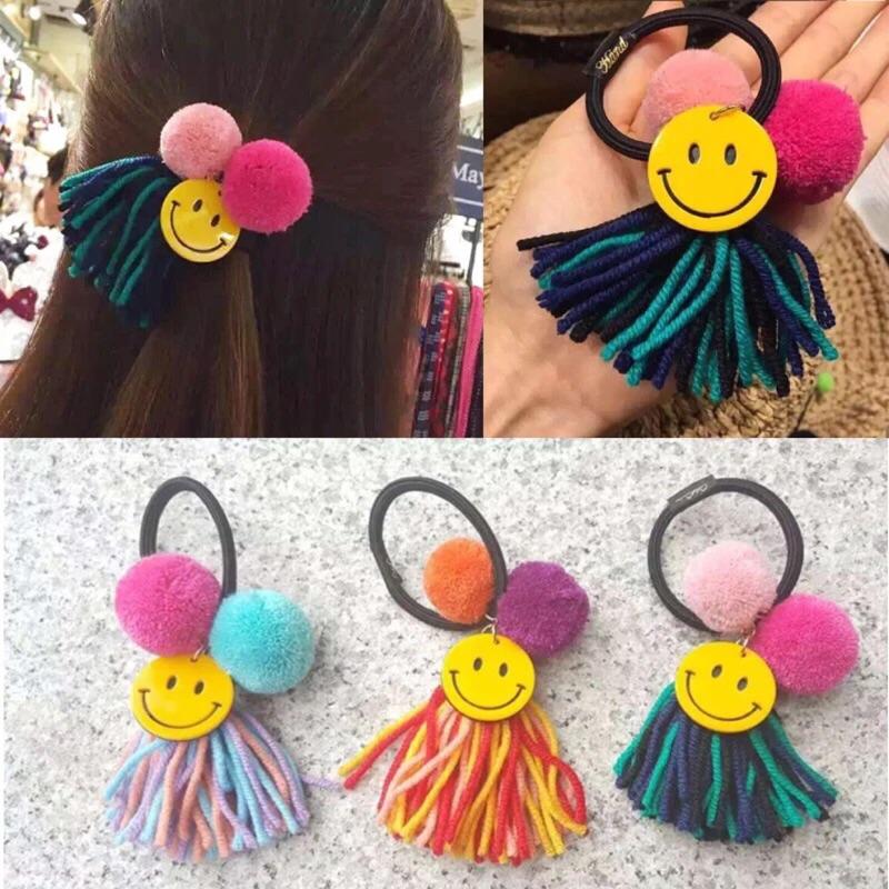 韓國可愛撞色毛球流蘇發繩髮圈