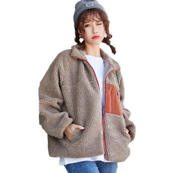 [YOUHA] ボアジャケット ボアブルゾン レディース アウトドア 羽織り 長袖 防寒 ふわもこ コート 胸ポケット あっ たか (ブラウン&ワインレッド, フリー)