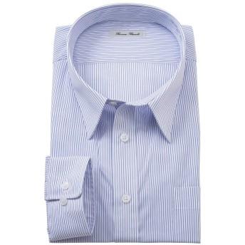 [nissen(ニッセン)] 新パターン使用形態安定長袖ワイシャツ(レギュラーカラ―) 大きいサイズメンズ ニッセン商品 ブルーストライプ 3L