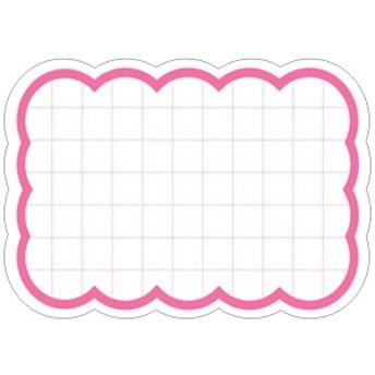 タカ印 ポップ用紙 16-4080 抜型カード 小 波四角 50枚 ピンク
